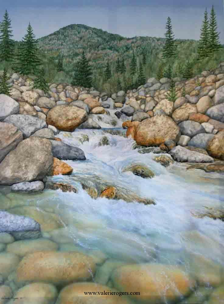 Acrylic painting of mountain stream