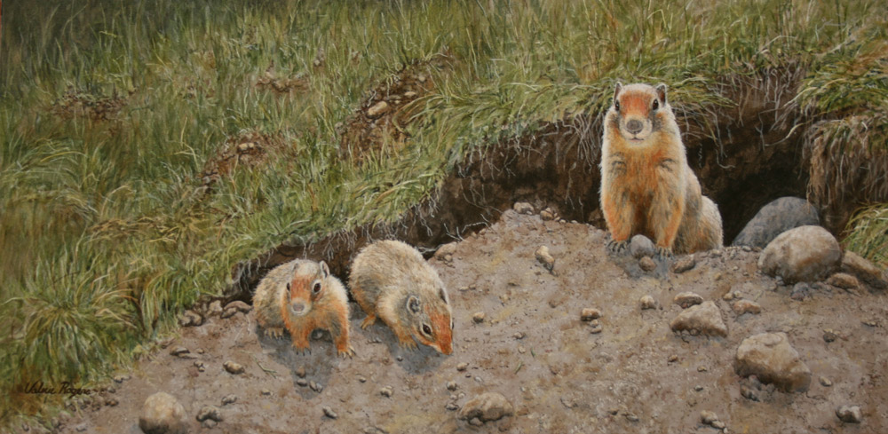 Valerie Rogers' Painting of ground squirrel family