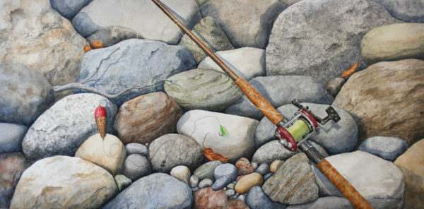 Painting of a fishing rod laying on river rocks
