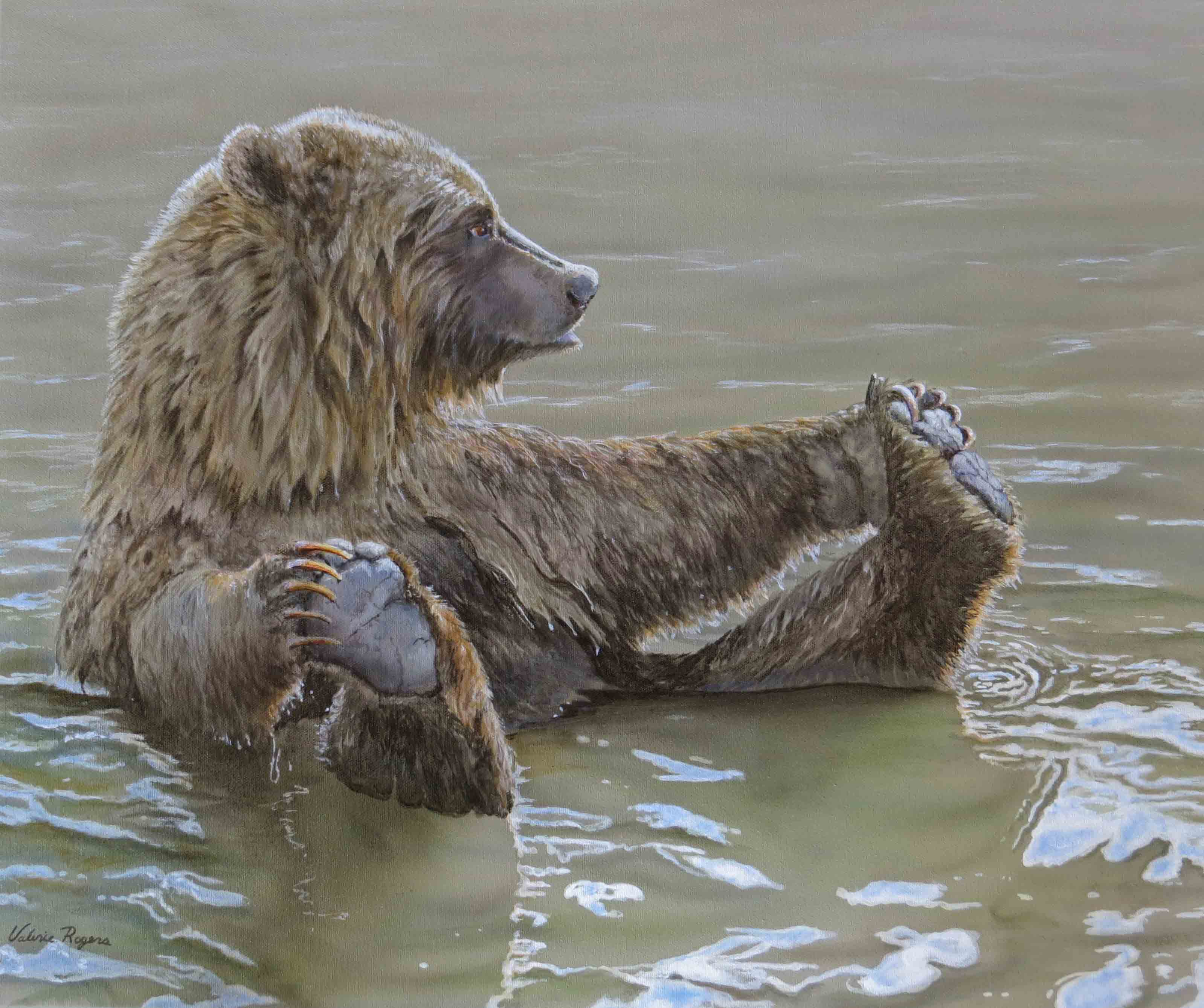 Painting of Bear in water