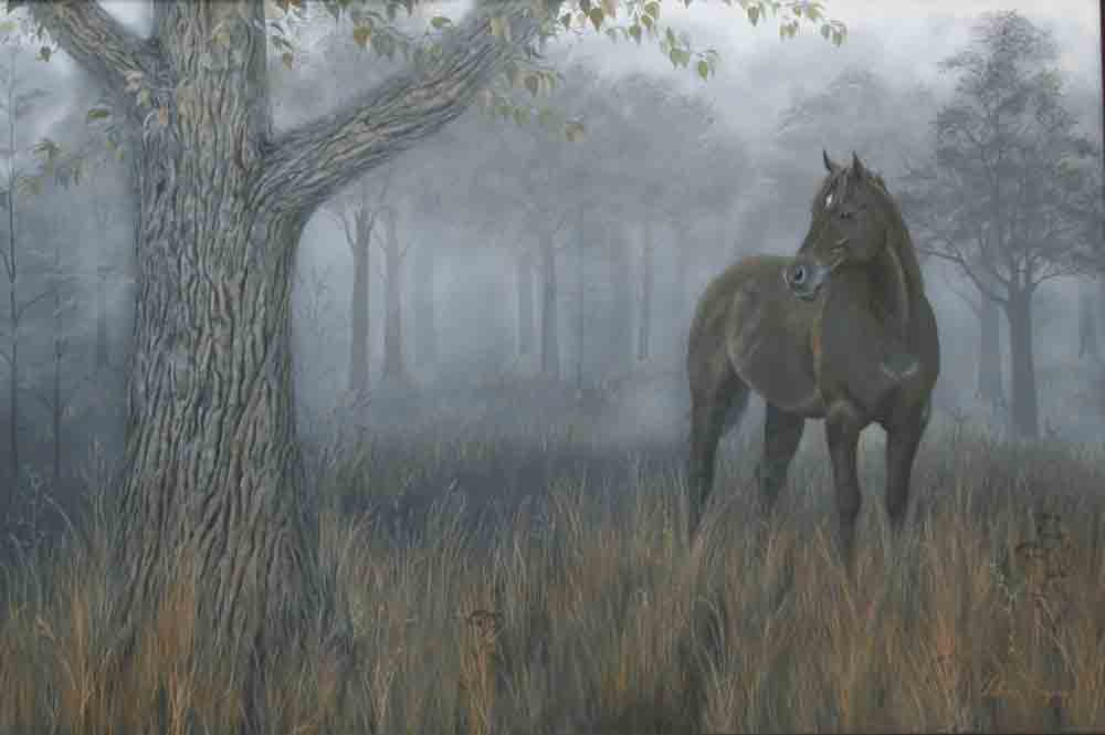 Acrylic Painting of horse in the misty trees.