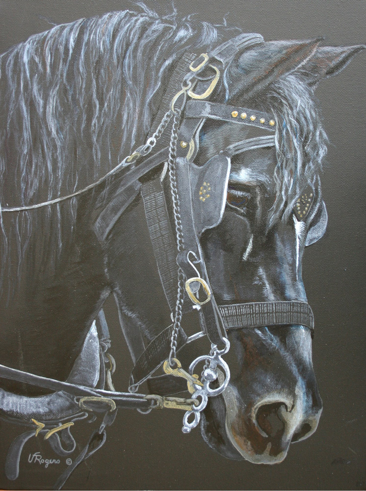 Black painting of a horse
