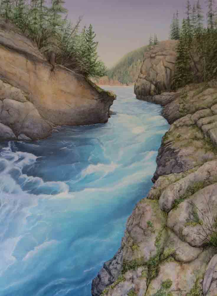 painting of spring water rushing through rocky gorge.