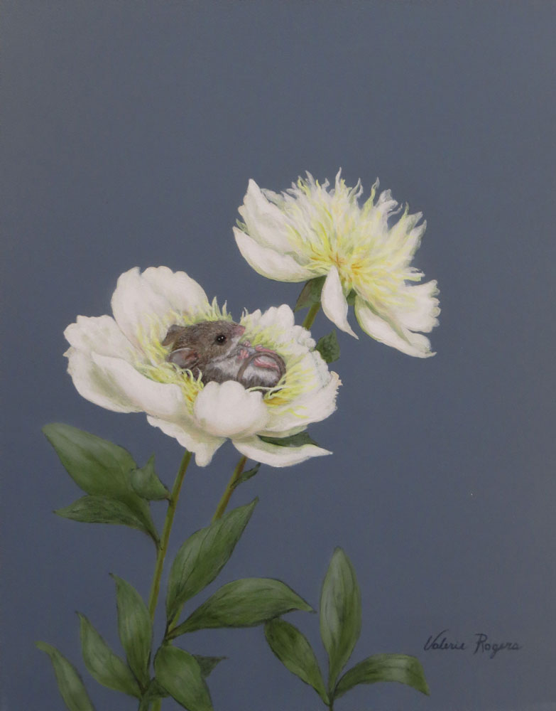 acrylic painting of mouse in a flower