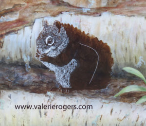 close up of half done squirrel in Valerie Rogers Painting
