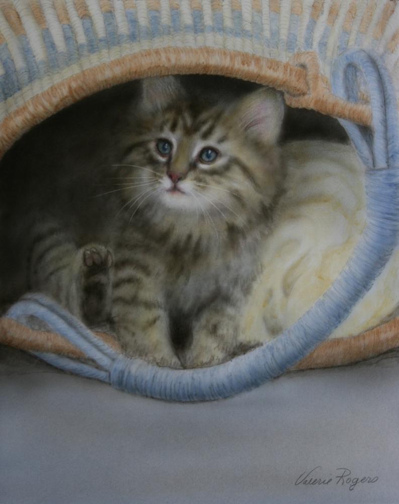 acrylic painting of kitten in basket