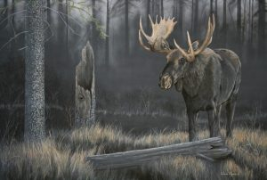 Valerie Rogers' painting of moose