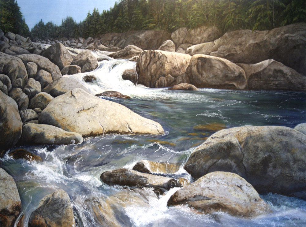 Water running fast over boulders in painting