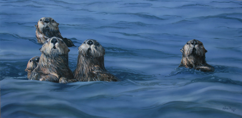 Sea otter painting by Valerie Rogers